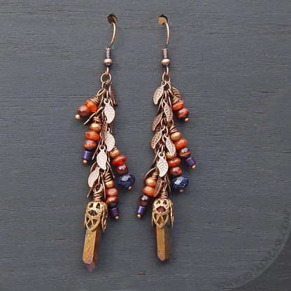 semiprecious stone dangle earrings in fall colors