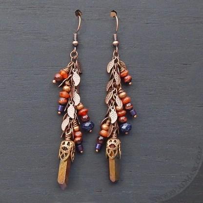 semiprecious stone dangle earrings in fall colors