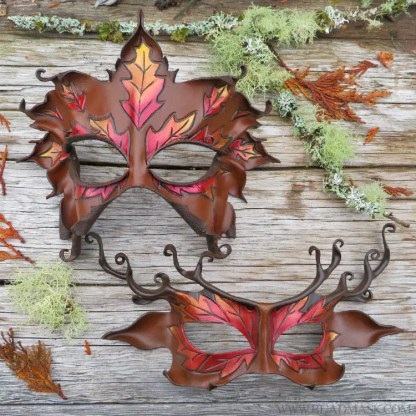 Fall greenwoman and autumn stag masks