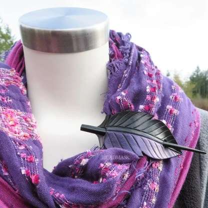 raven feather shawl clasp in purple and black