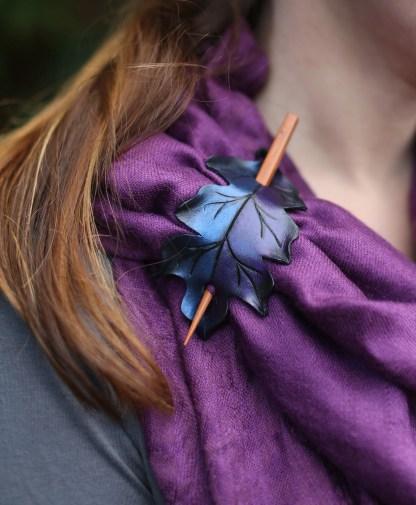 leather shawl pin