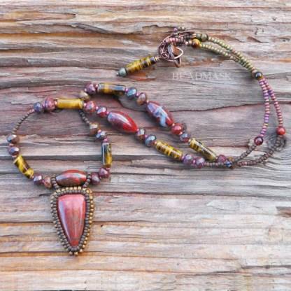 beaded red jasper necklace