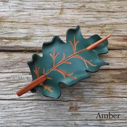 oak leaf leather shawl pin