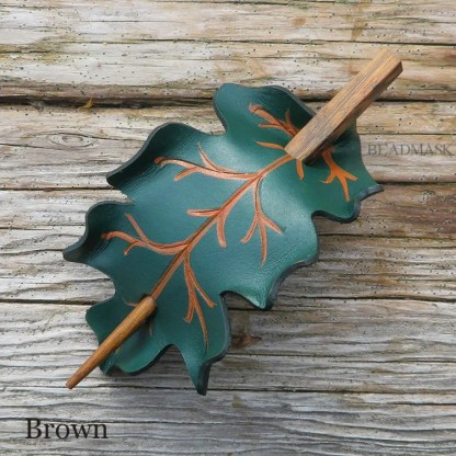 oak leaf leather shawl pin