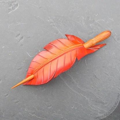 leather firebird feather hair stick barrette