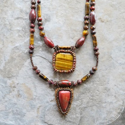 beaded gemstone layering necklaces in fall hues