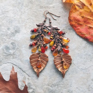Gemstone and leather birch leaf earrings