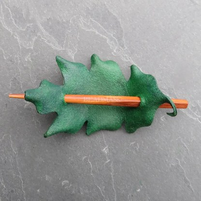 leather leaf shawl pin