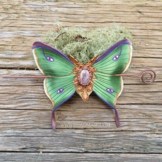 leather luna moth barrette with beaded opal