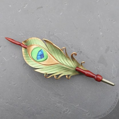 leather peacock feather hair slide