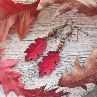 Red oak leaf leather earrings