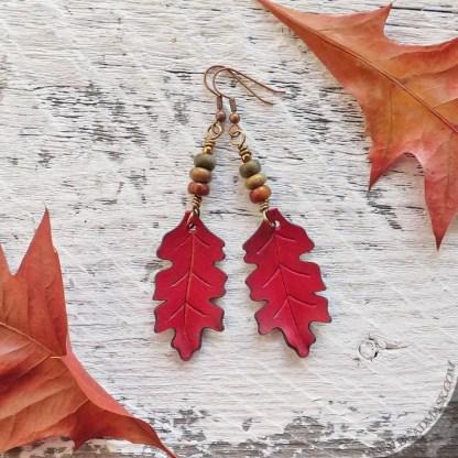 Red oak leaf leather earrings