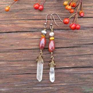 gemstone dangle earrings with red jasper and quartz crystals