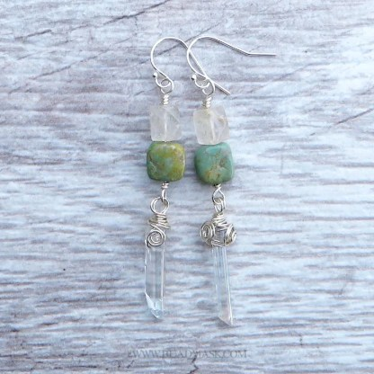 sterling silver earrings with turquoise and quartz crystal