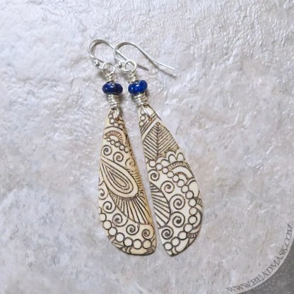 engraved bone earrings with semiprecious stones and sterling silver