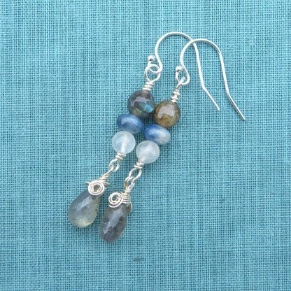 sterling silver and gemstone earrings with labradorite and blue kyanite