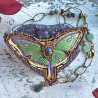 beaded leather luna moth necklace