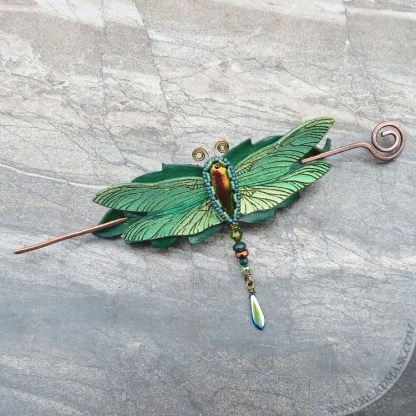 beaded leather dragonfly hair slide