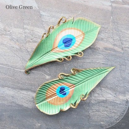 olive green peacock feather leather barrettes