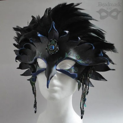 beaded leather raven mask