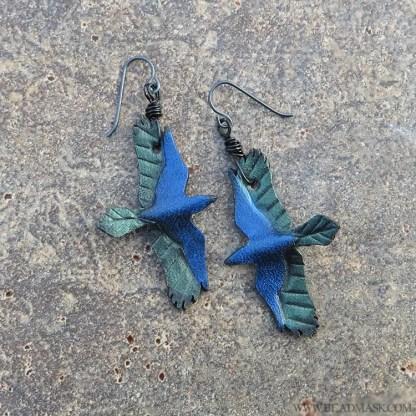 leather raven earrings