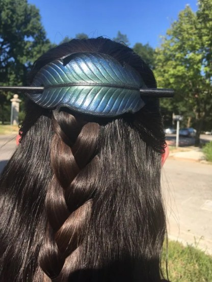 hand painted raven feather leather hair slide