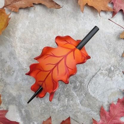 orange oak leaf leather hair slide