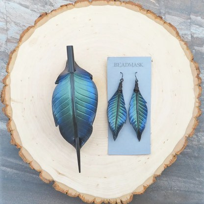 leather raven feather barrette and earrings