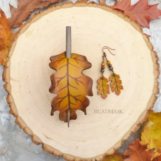 golden oak leaf leather hair slide and earrings