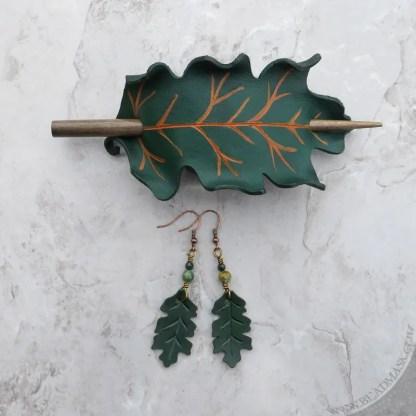 green oak leaf leather hair slide and earrings