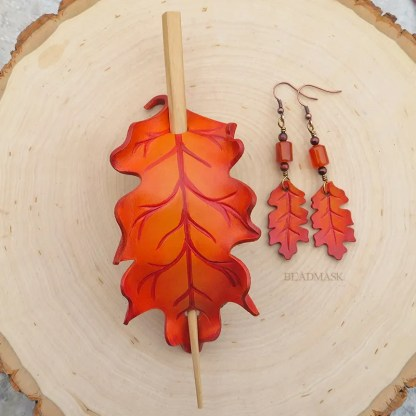 orange oak leaf leather hair slide and earrings