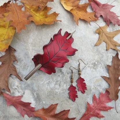 red oak leaf leather hair slide and earrings