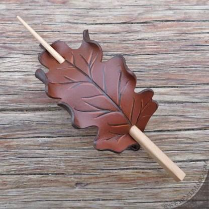 brown oak leaf leather hair slide