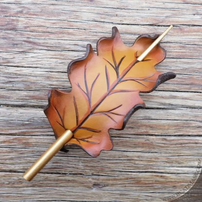 golden oak leaf leather hair stick barrette