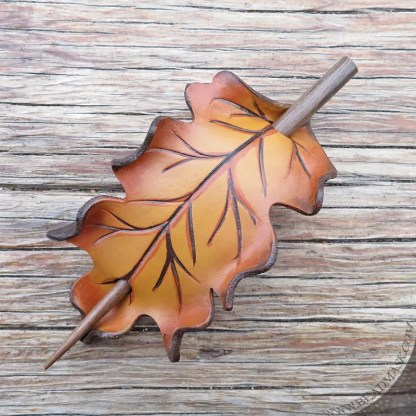 golden oak leaf leather hair slide