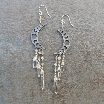 moon phase earrings with sterling & quartz