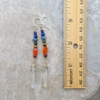 sterling chakra earrings with gemstones and crystals