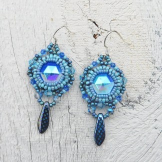 sapphire blue beaded earrings