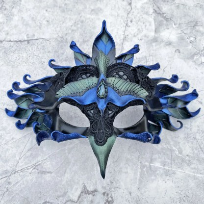 iridescent raven leather mask