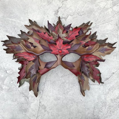 leather leaf mask and crown