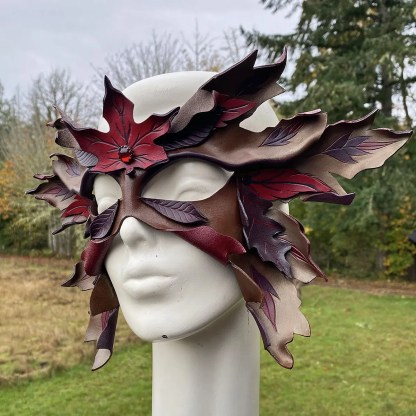 fall leaves leather mask