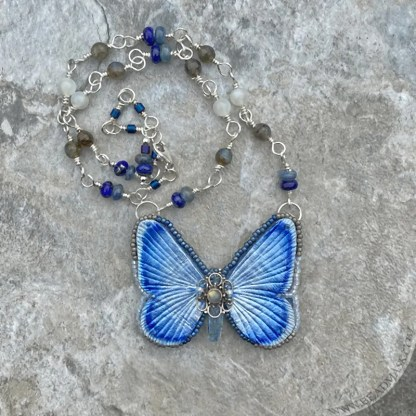 leather and gemstone butterfly necklace