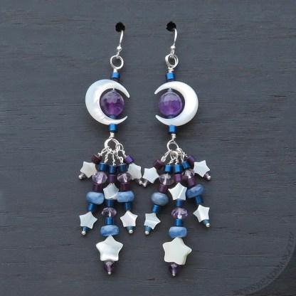 Crescent moon beaded gemstone earrings