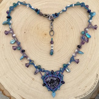 Healing Heart beaded necklace with druzy amethyst heart
