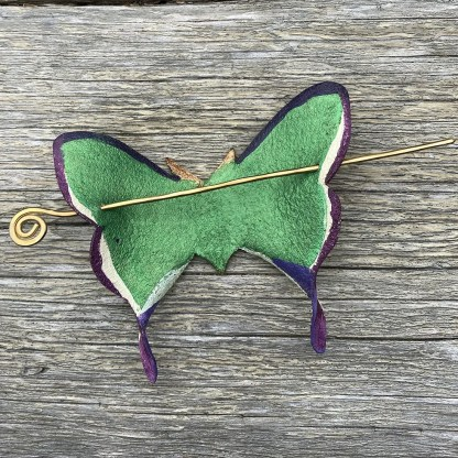 luna moth leather hair stick barrette