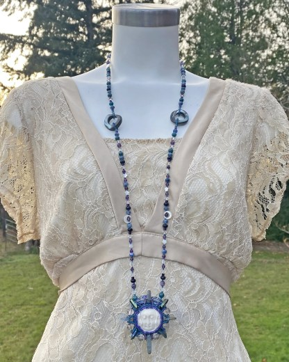 triple moon beaded necklace