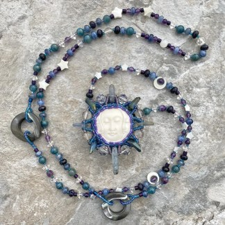 Worm Moon beaded necklace