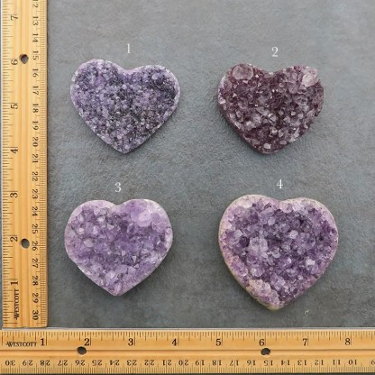 druzy amethyst crystal heart shaped stones