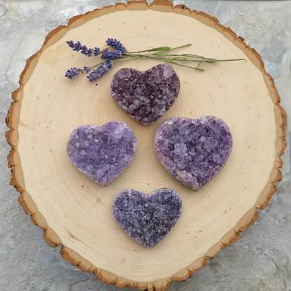drusy amethyst crystal hearts