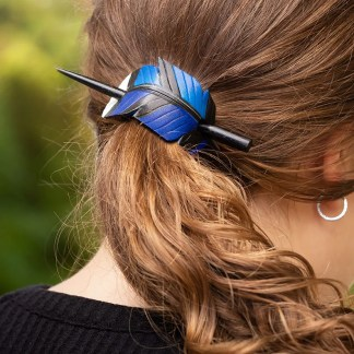 leather blue jay feather ponytail holder